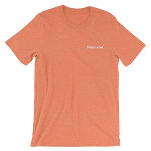 Cancer Survivor Embroidered T-Shirt Better and Co. Heather Orange S