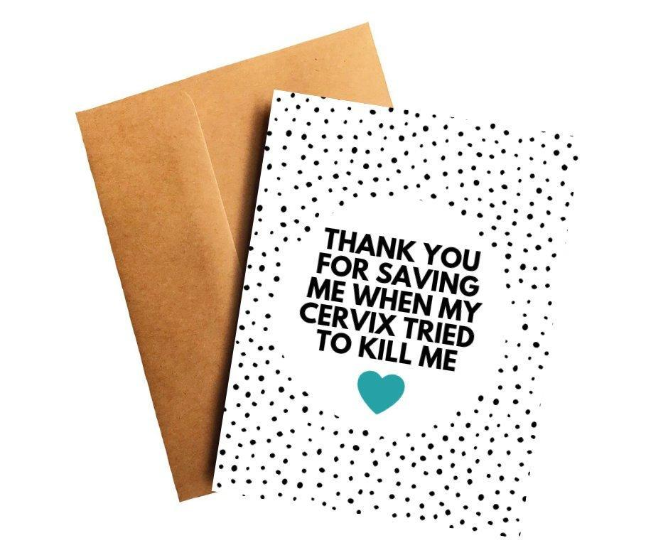 Cervical Cancer Oncologist Doctor Thank You Card Better and Co.