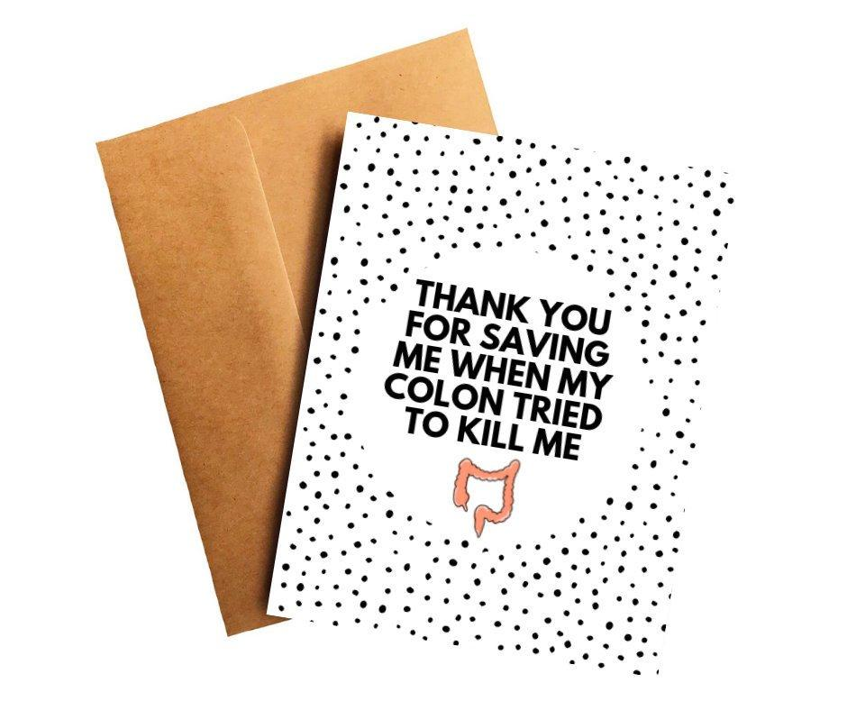 Colon Cancer Oncologist Doctor Thank You Card Better and Co.