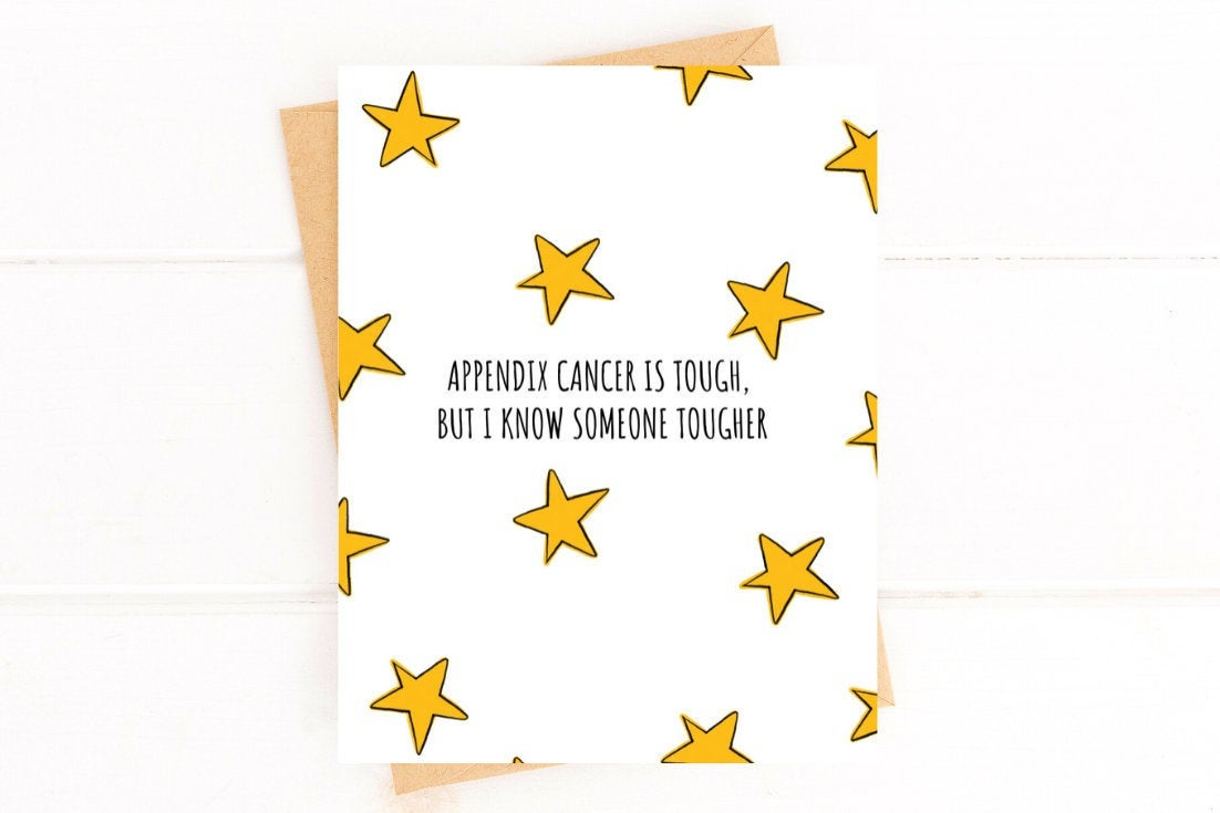 """Appendix Cancer is Tough, But I Know Someone Tougher""  Appendix Cancer Get Well Card, Appendectomy Card"