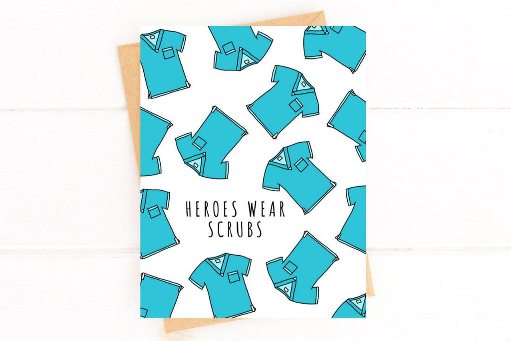 Heroes Wear Scrubs Doctor and Nurse Thank You Card