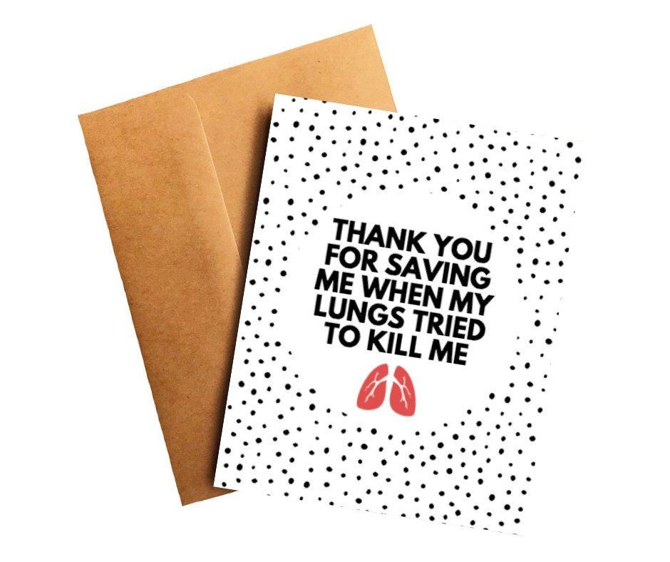 Saving Me Lung Cancer Doctor Thank You Card Better and Co.