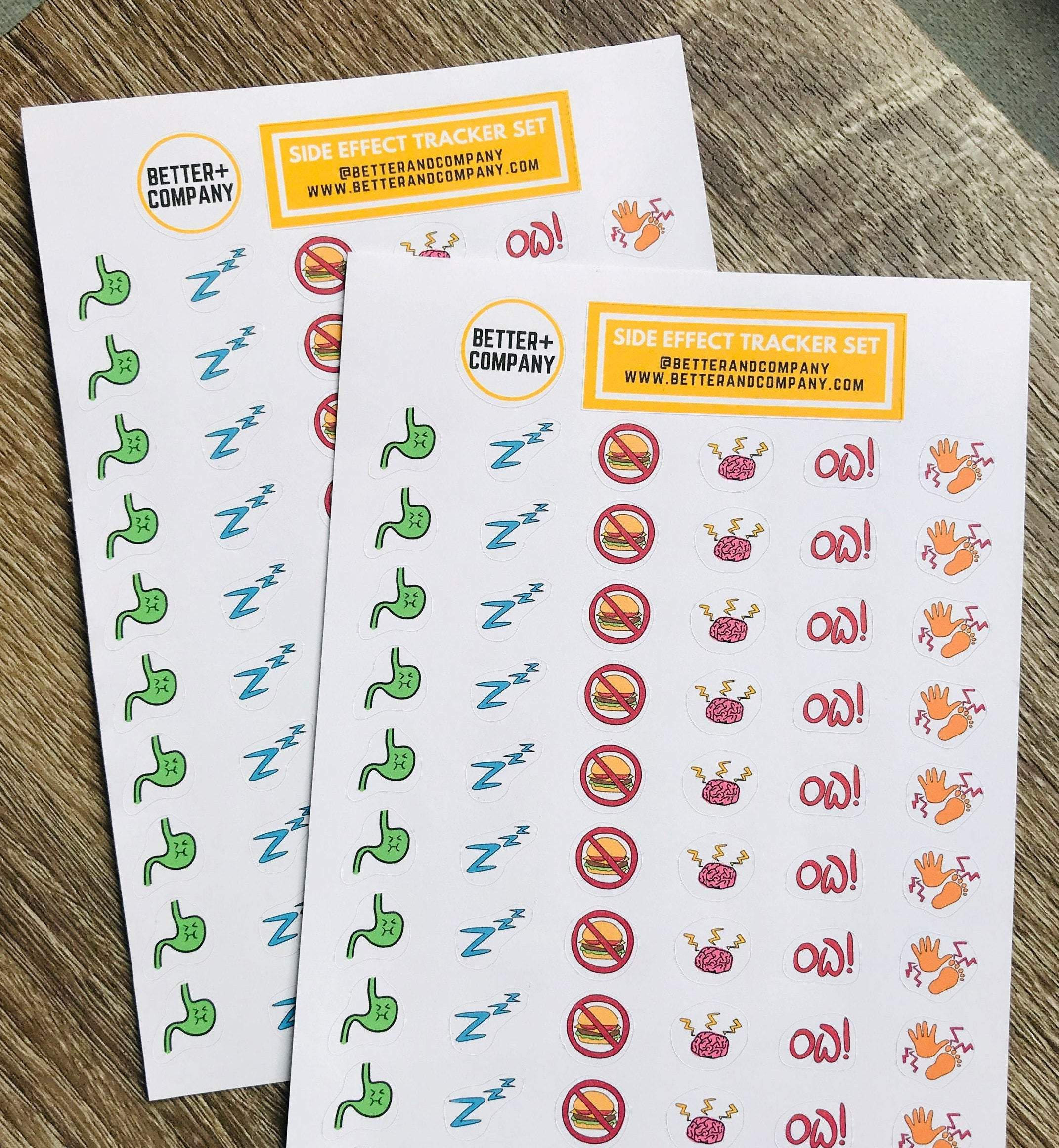 Side Effect Planner Stickers for Chemo Tracking Better and Co.