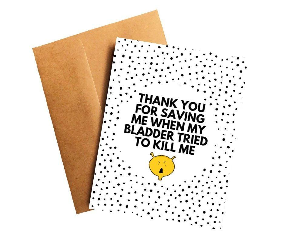 Thank You For Saving Me Bladder Cancer Doctor Thank You Card Better and Co.
