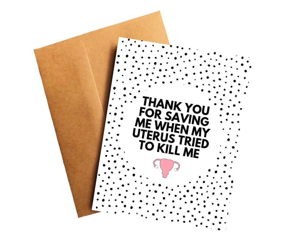 Uterine Cancer Oncologist Doctor Thank You Card Better and Co.