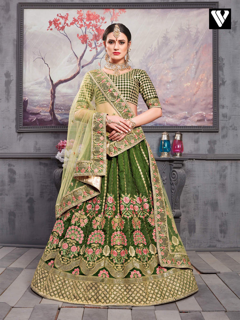 Adorable Pine Green Thai Silk Wedding Lehenga Choli