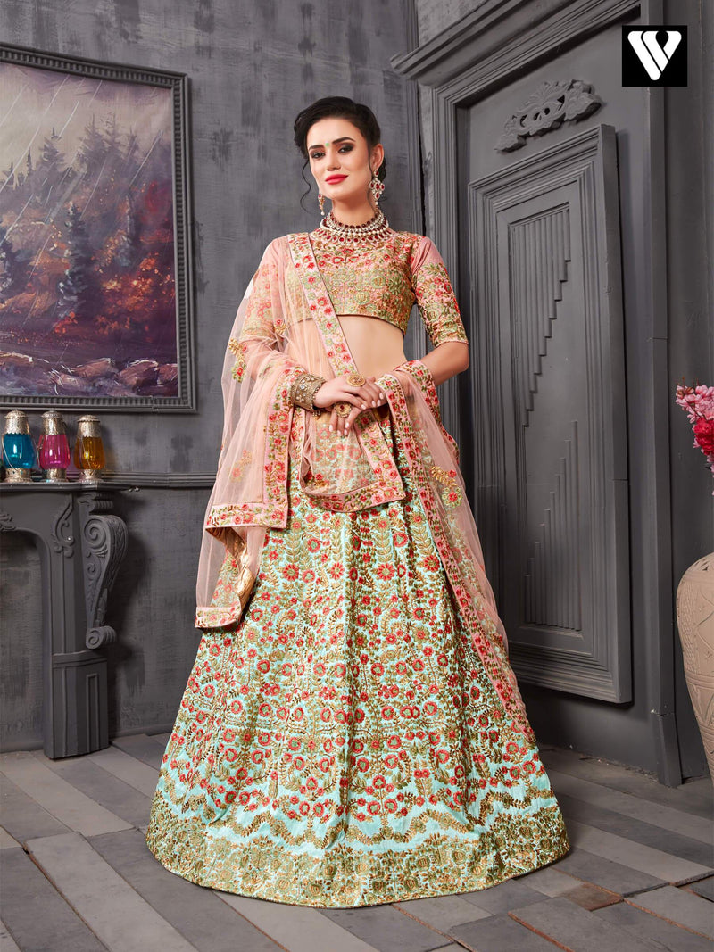 Adorable Dark Salmon Phantom Silk Wedding Lehenga Choli