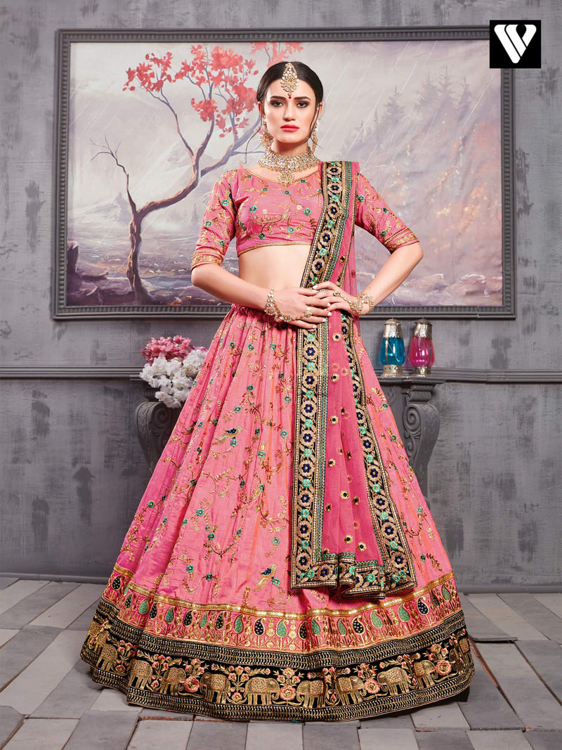 Adorable Salmon Pink Banarasi Silk Wedding Lehenga Choli