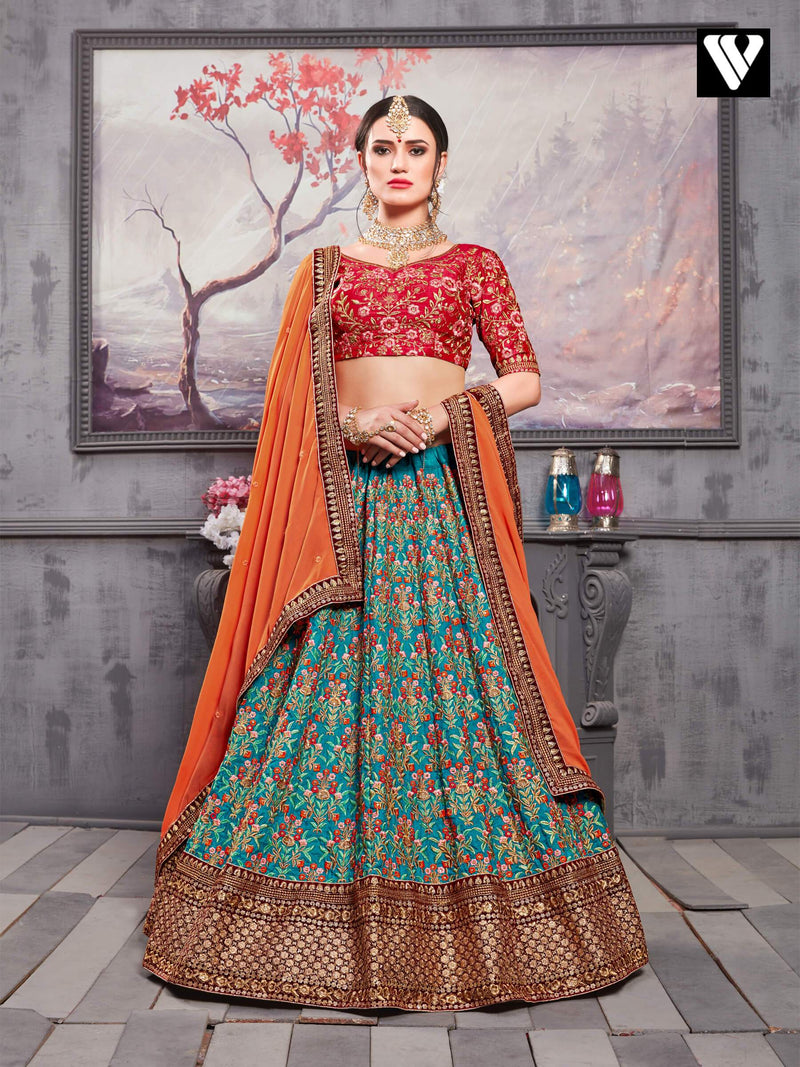 Adorable Multi Color Embroidery Work Banarasi Silk Lehenga Choli