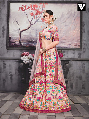 Adorable Light Pink Embroidery Work Silk Lehenga Choli