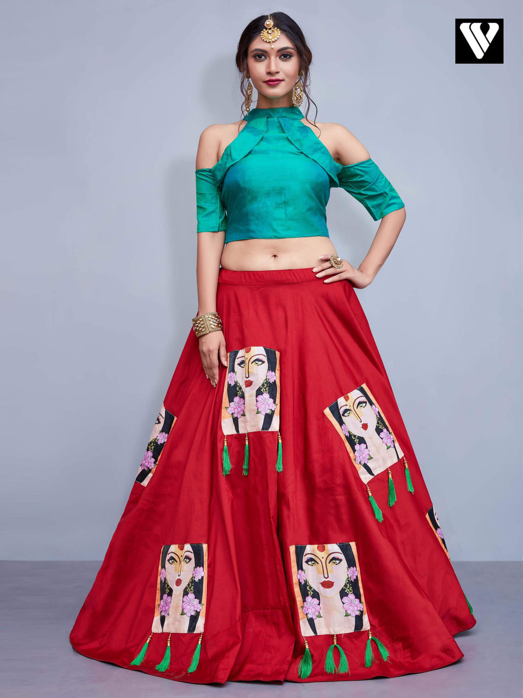 Fashionable Tafetta Silk Embroidery Work Red Lehenga