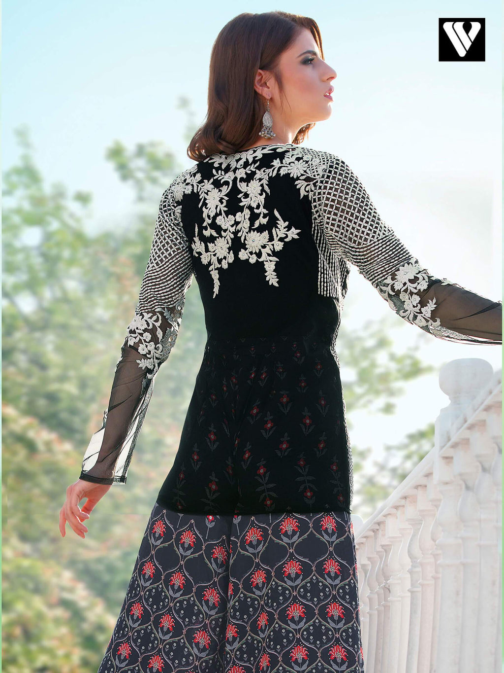 Digital Printed and Embroidered Black Pakistani Style Dress