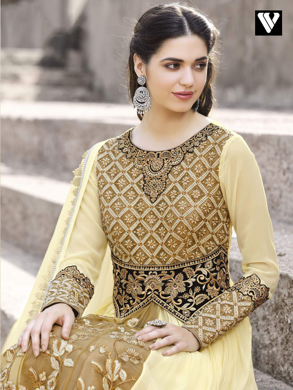 Anarkali Salwar Suit with Embroidered Work in Brown