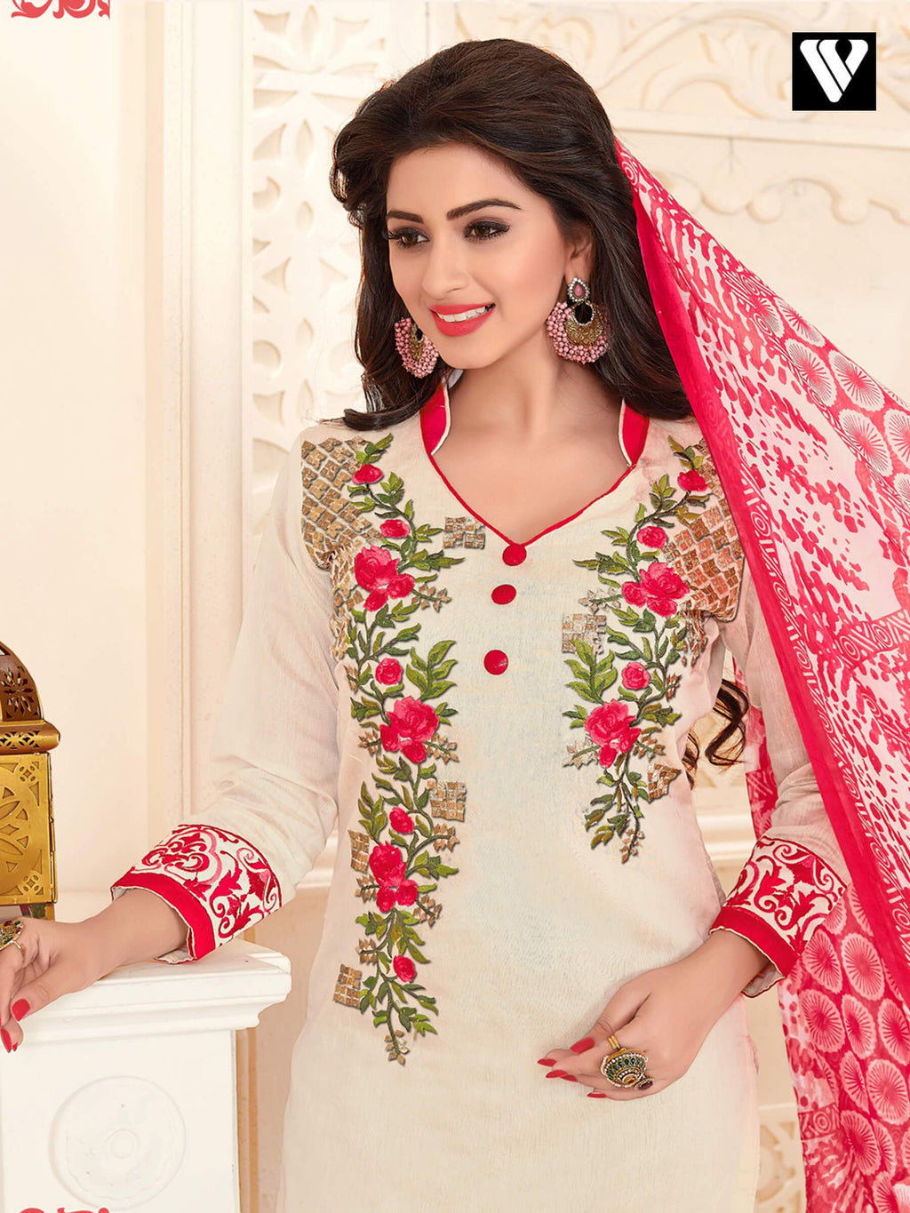Stylish Embroidered Work Off-white Salwar Suit Dress
