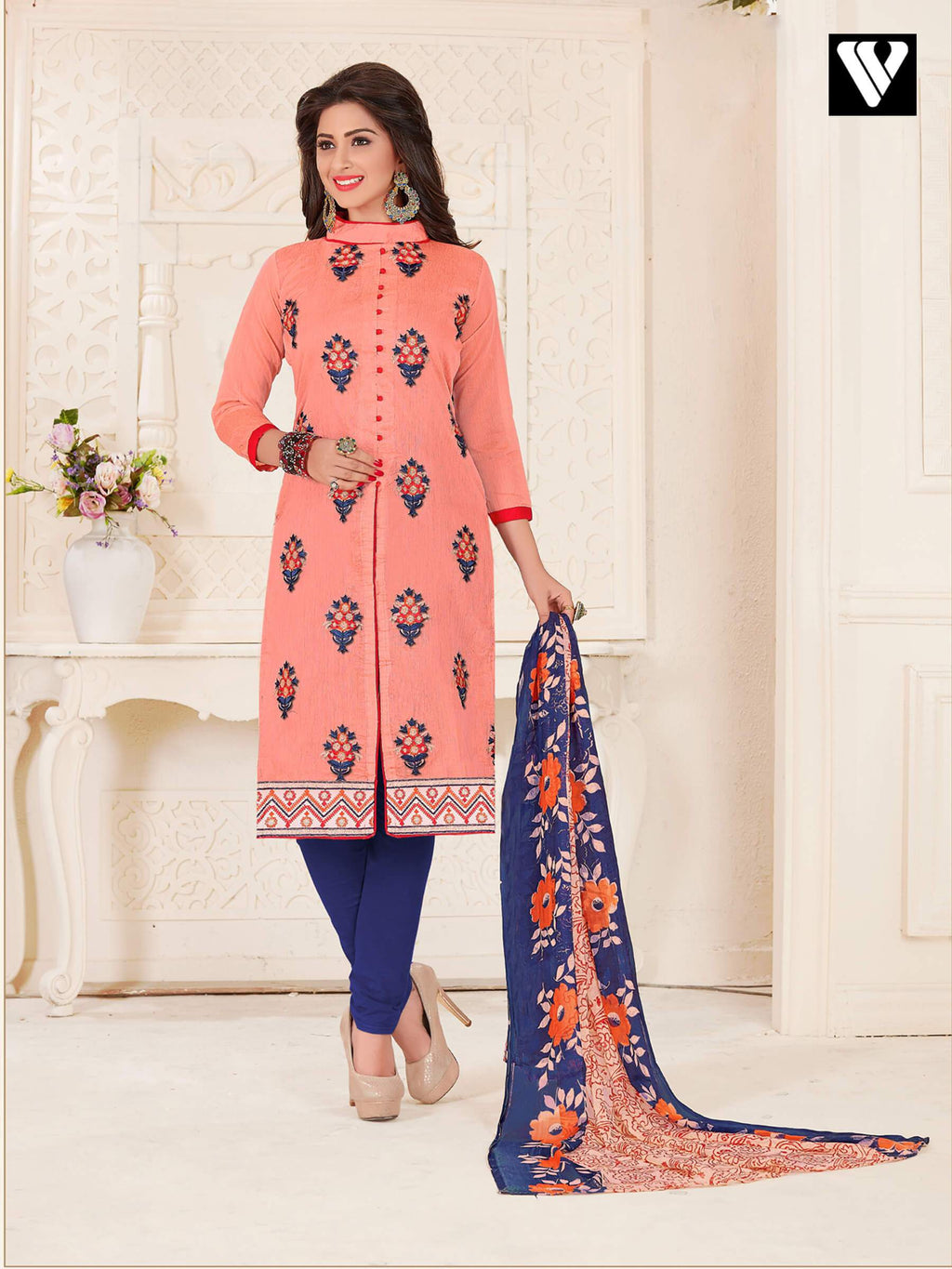Stylish Button Pattern and Embroidered Work Salwar Suit in Magenta
