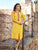 Printed Yellow Cotton Readymade Long Kurti