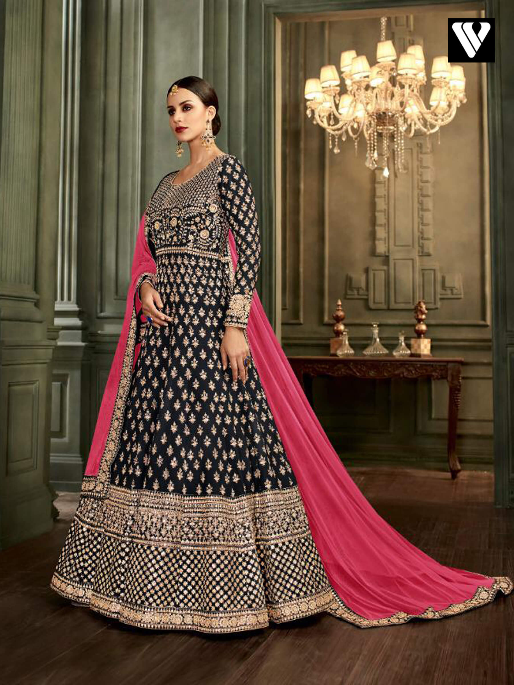 c6a696b349 Buy Black Floor Length Embroidered Mulberry Silk Anarkali Suit ...