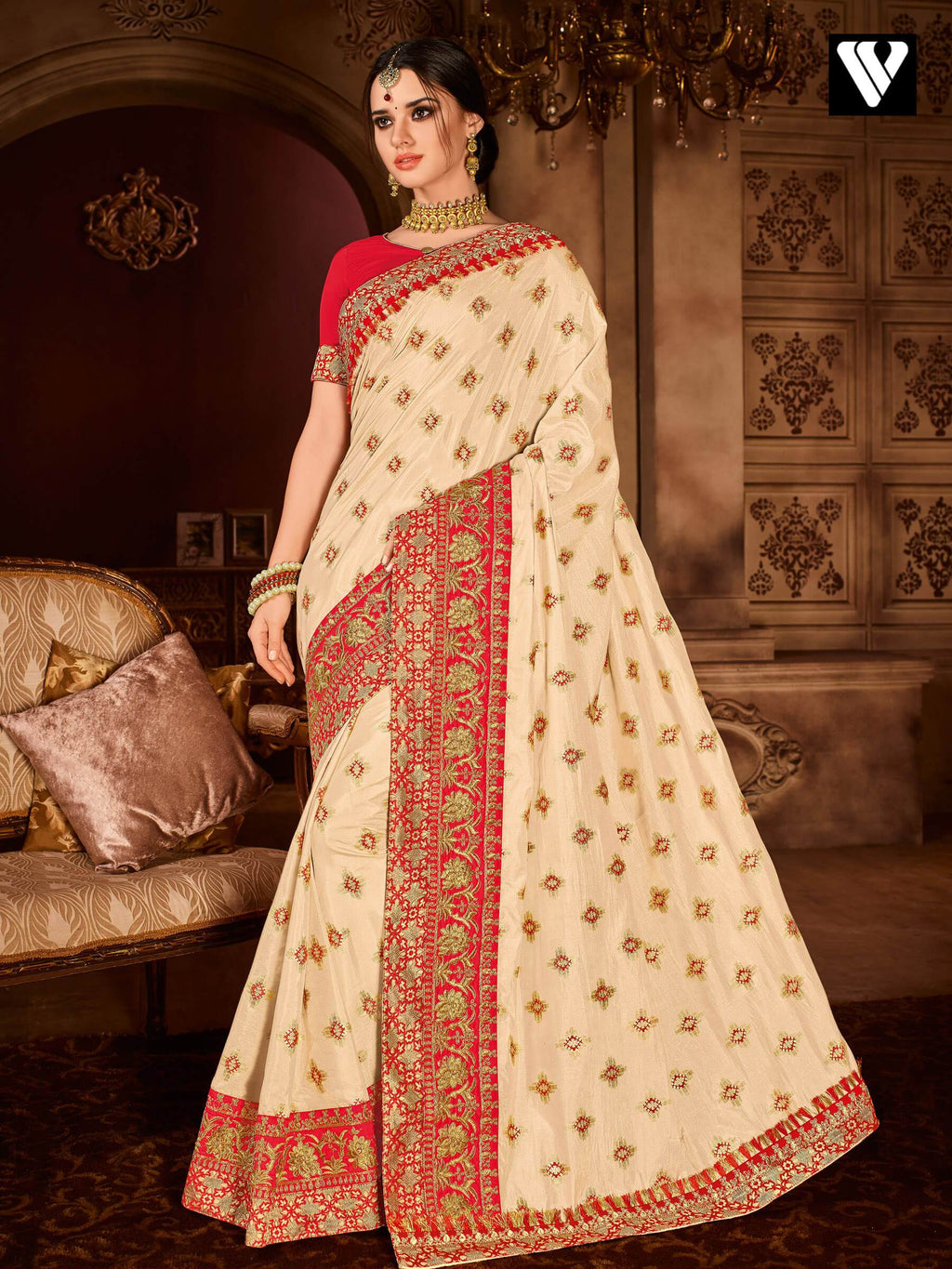 Designer Embroidered and Patch Design Silk Saree In Orange