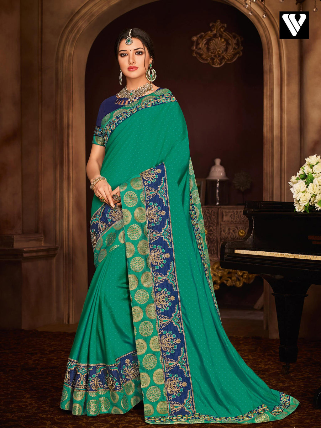 Designer Heavy Embroidered Work Two Tone Silk Saree In Green