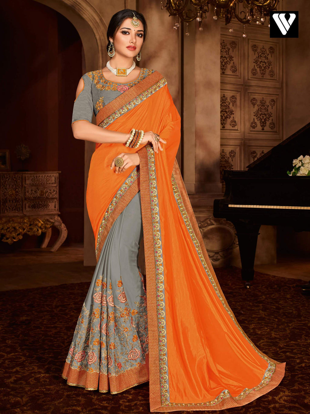 Designer Party Wear Heavy Embroidered Silk Saree In Orange & Grey