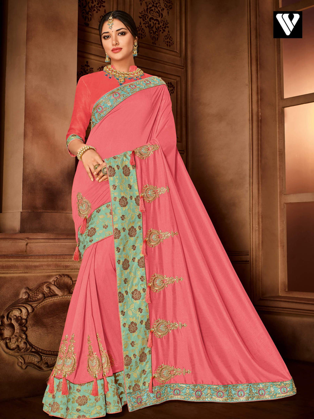 Attractive Design Heavy Embroidered Pink Silk Saree