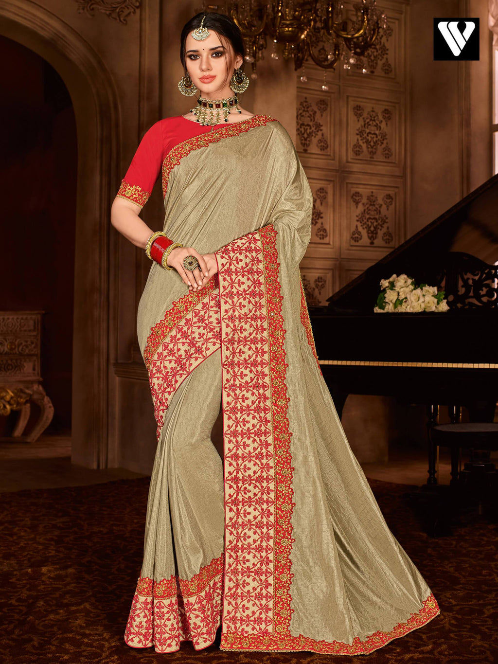Amazing Floral Design Embroidered Silk Saree In Beige