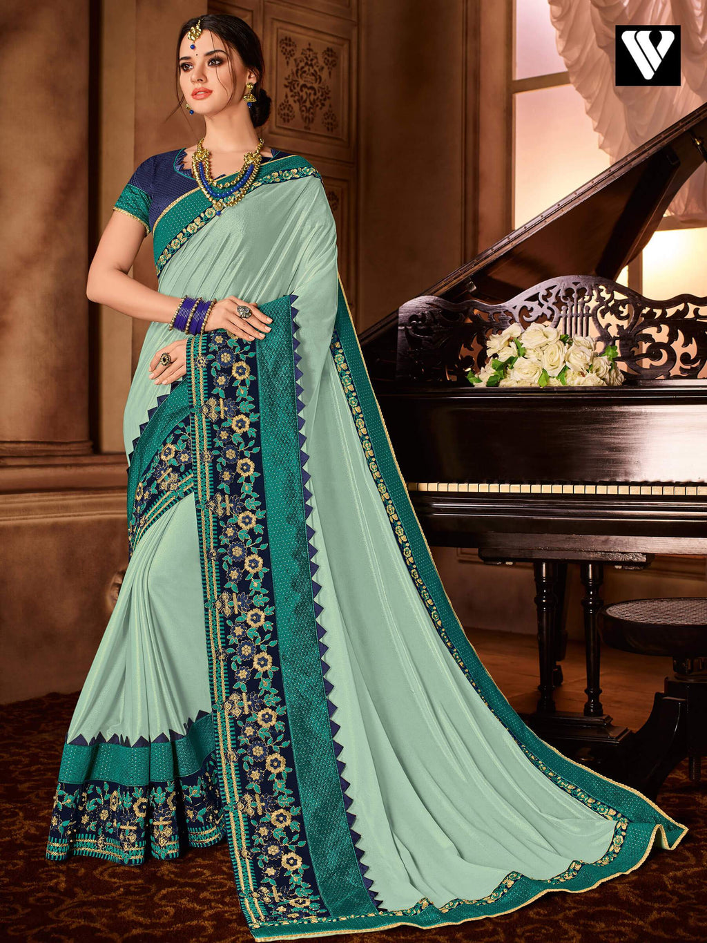 Designer Embroidered Glitter Lycra Saree In Cyan