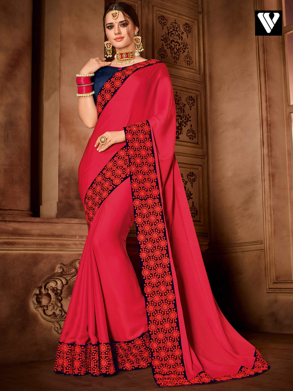 Fashionable Design Embroidered Red Sateen Silk Saree