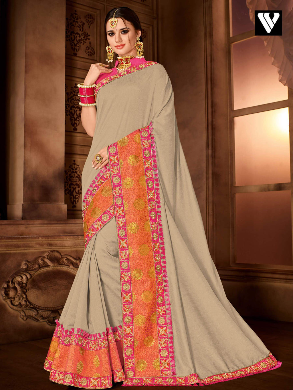 Nice Floral Patch Work Design Beige Silk Saree