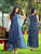 Digital Print Blue and Navy Blue Pattern Work Long Kurtis