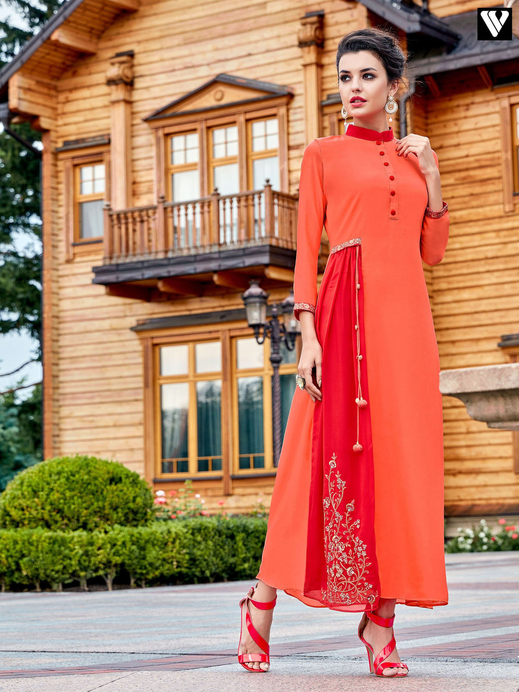 Designer Embroidered Work On Orange and Red Color Georgette Long Kurtis