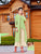 Georgette Embroidered Work On Beige and Green Long Kurtis