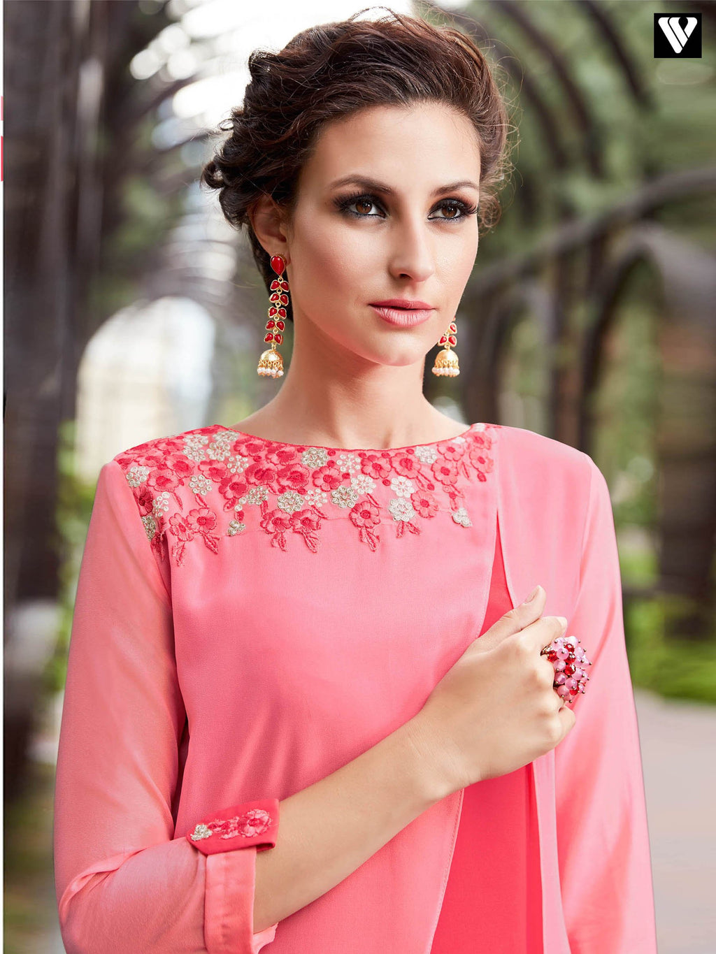 Pink Georgette Embroidered Work and Pattern On Long Kurtis