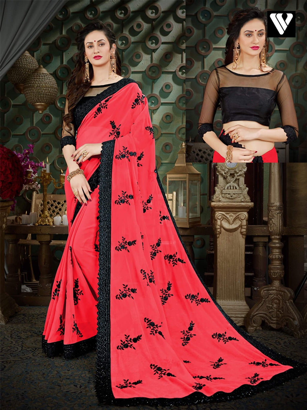 Nice Design Georgette Sarees In Magenta