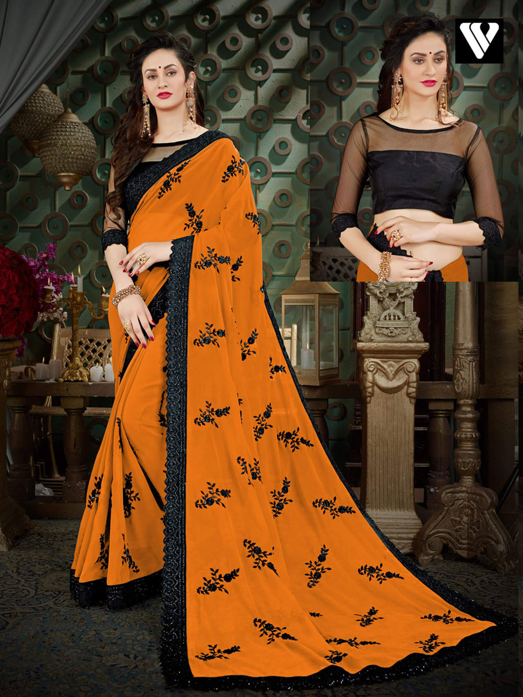 Georgette Sarees With Designer Printed In Orange