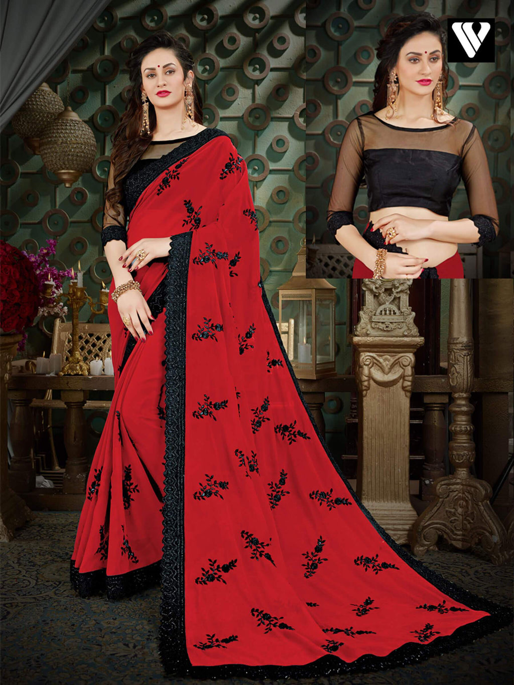 Unique Style Casual Wear Georgette Sarees In Red