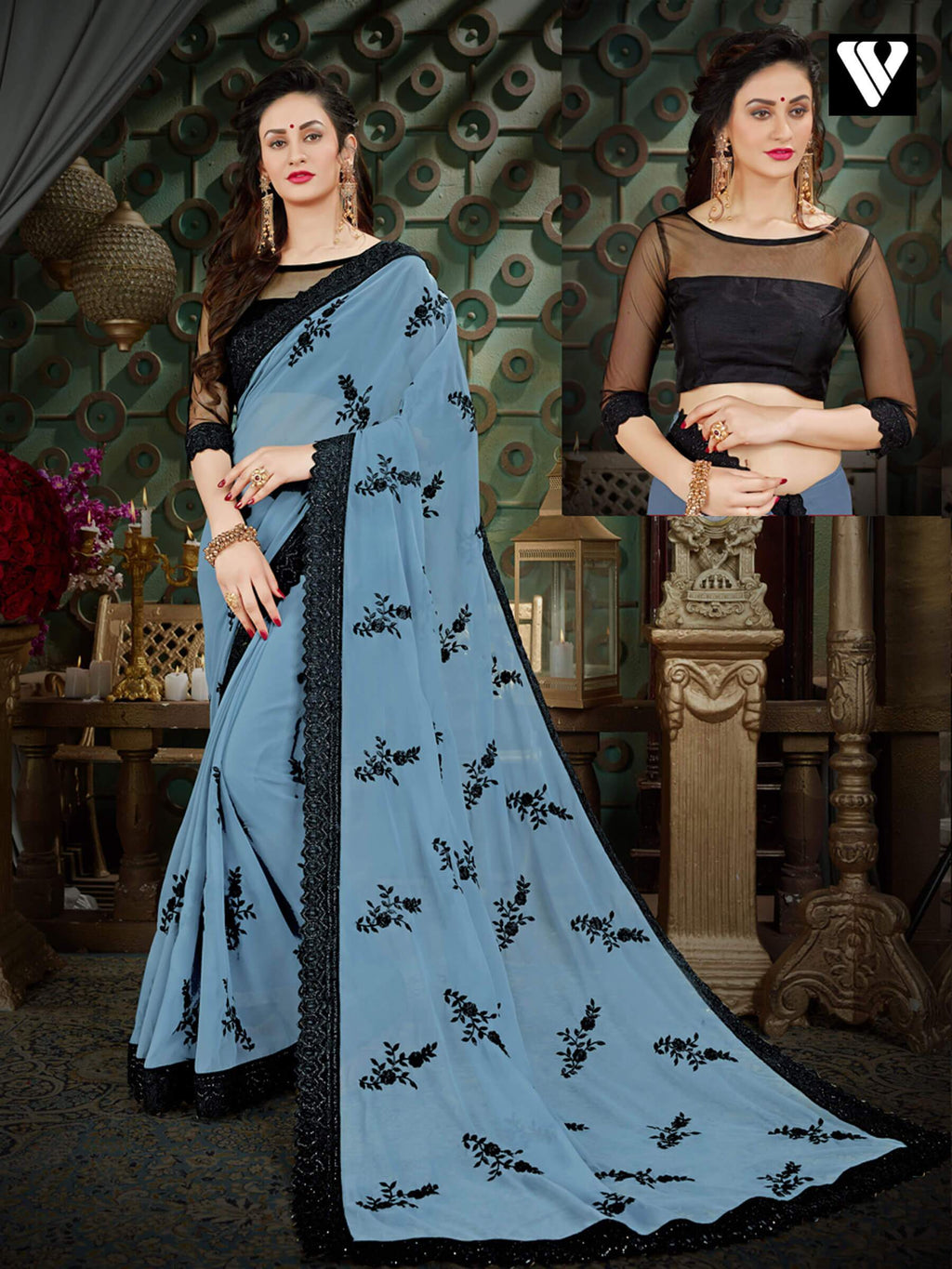 Stylish Unique Wear Georgette Sarees In Grey