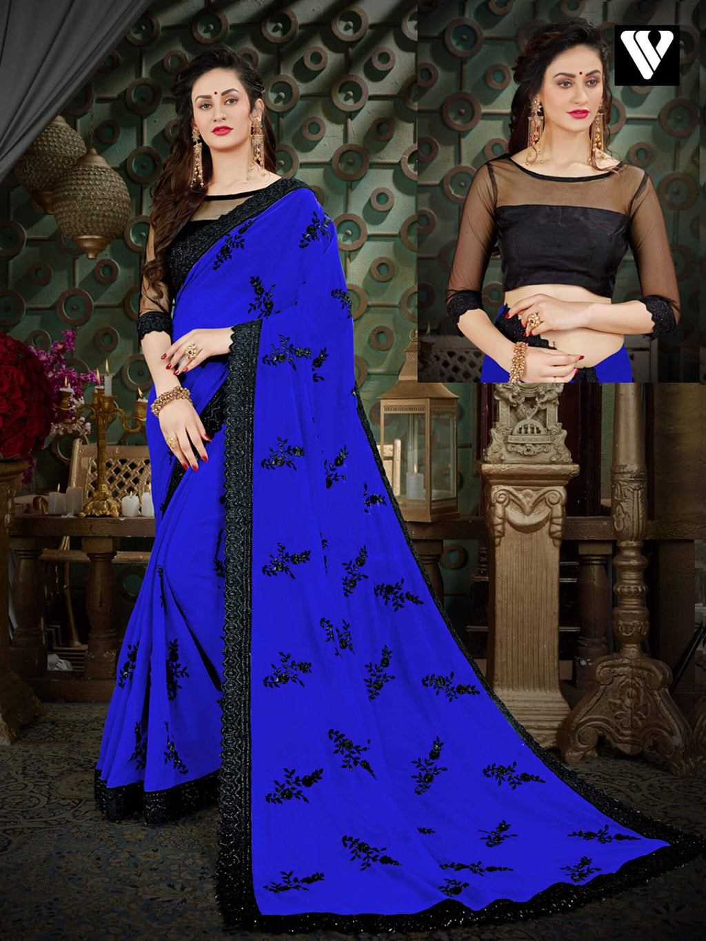 Designer Latest Georgette Sarees In Blue