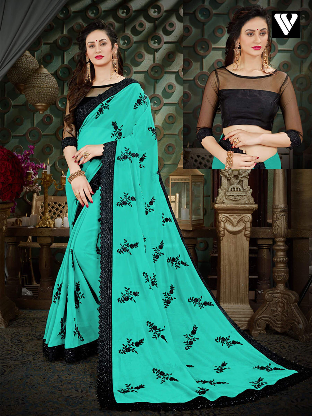 Nice Latest Design Georgette Sarees In Turquoise