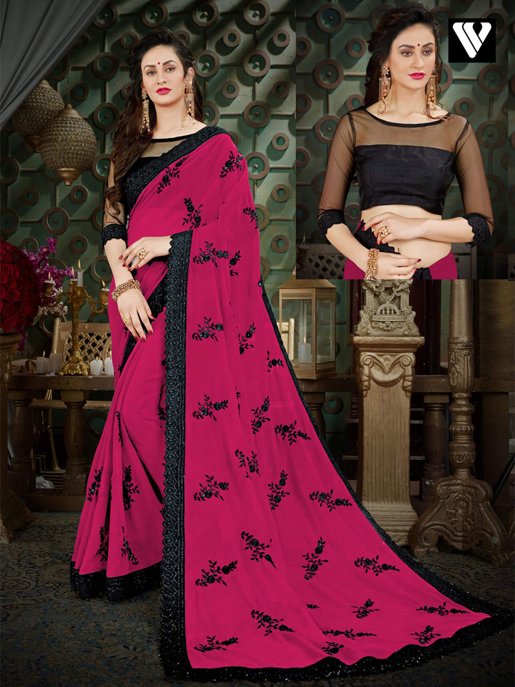 Casual Wear Printed Georgette Sarees In Wine