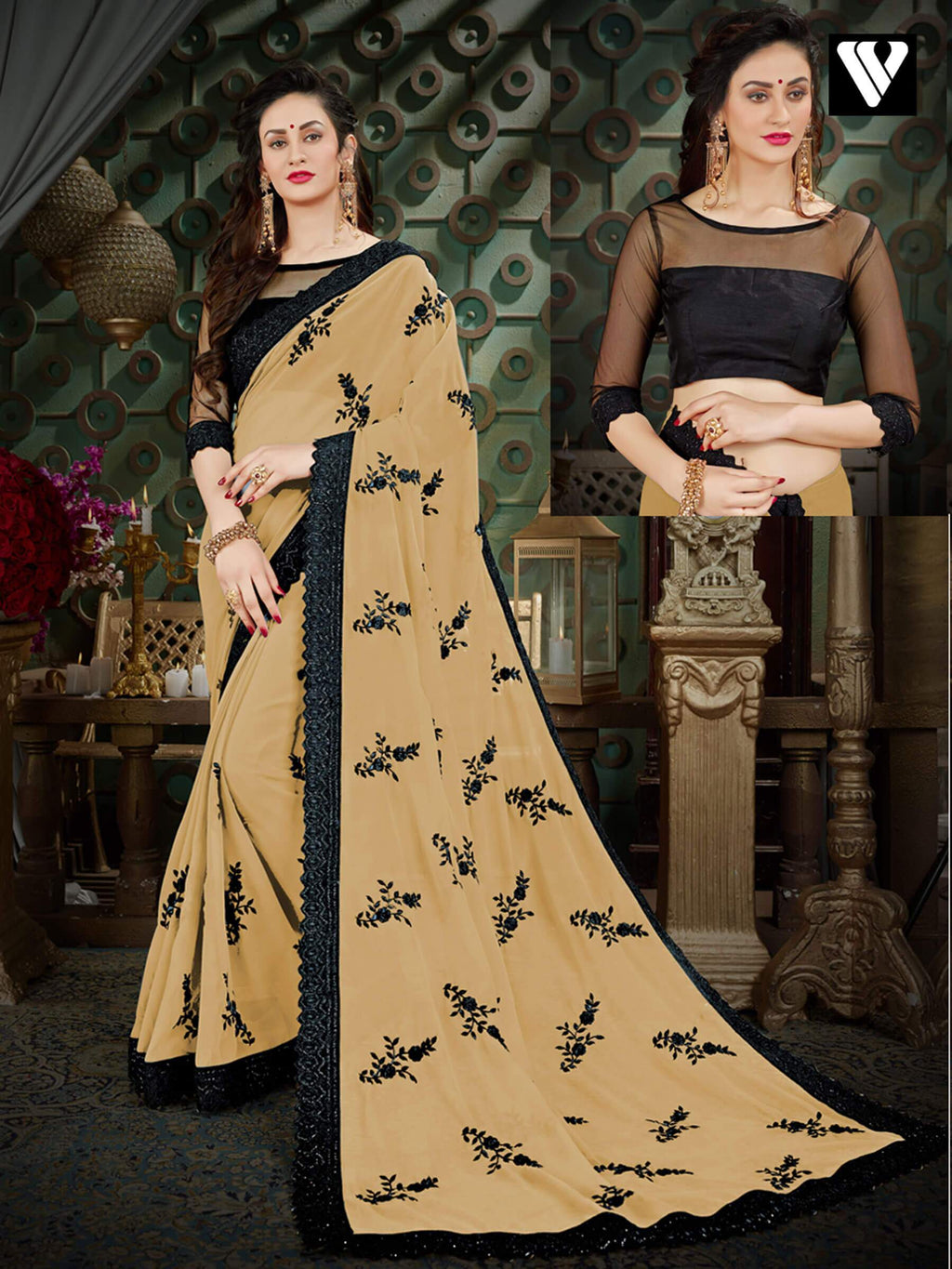 Party Wear Printed Georgette Sarees In Beige