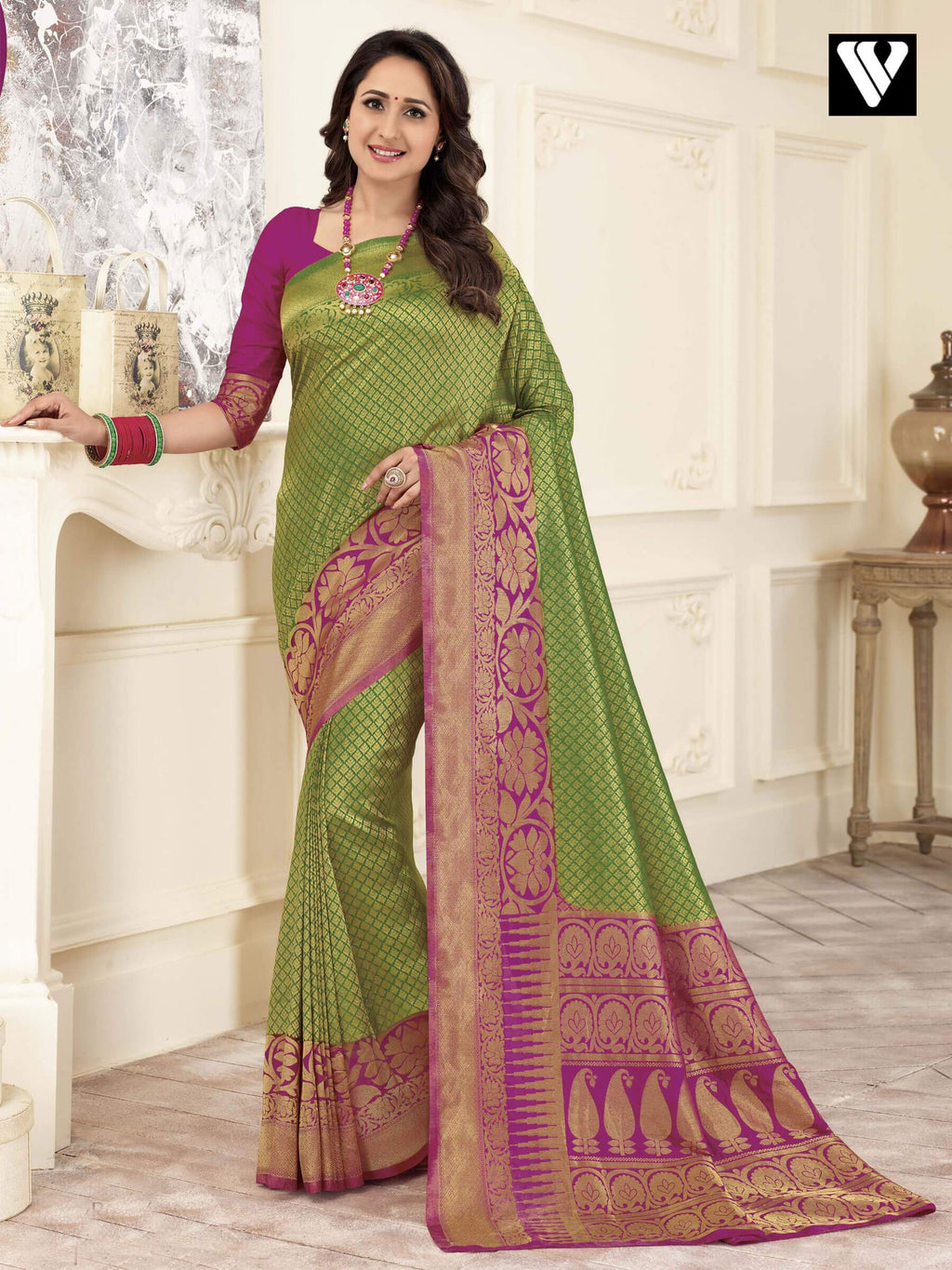 Designer Latest Banarasi Art Silk Sarees In Green Gold