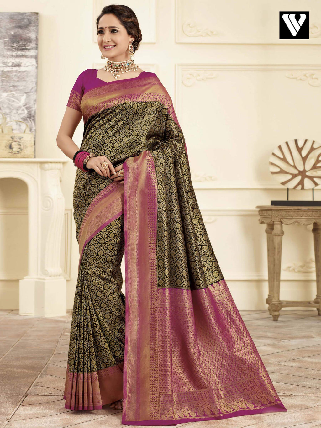 Designer Wedding Wear Banarasi Art Silk Sarees In Black Gold