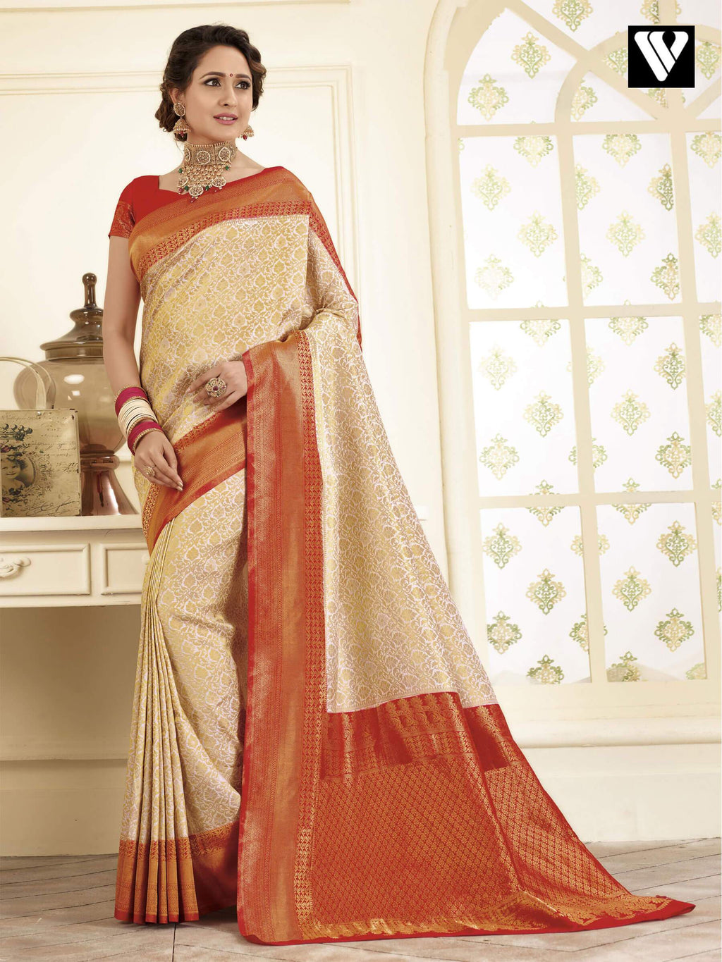 Designer Latest Banarasi Art Silk Sarees In Cream Gold