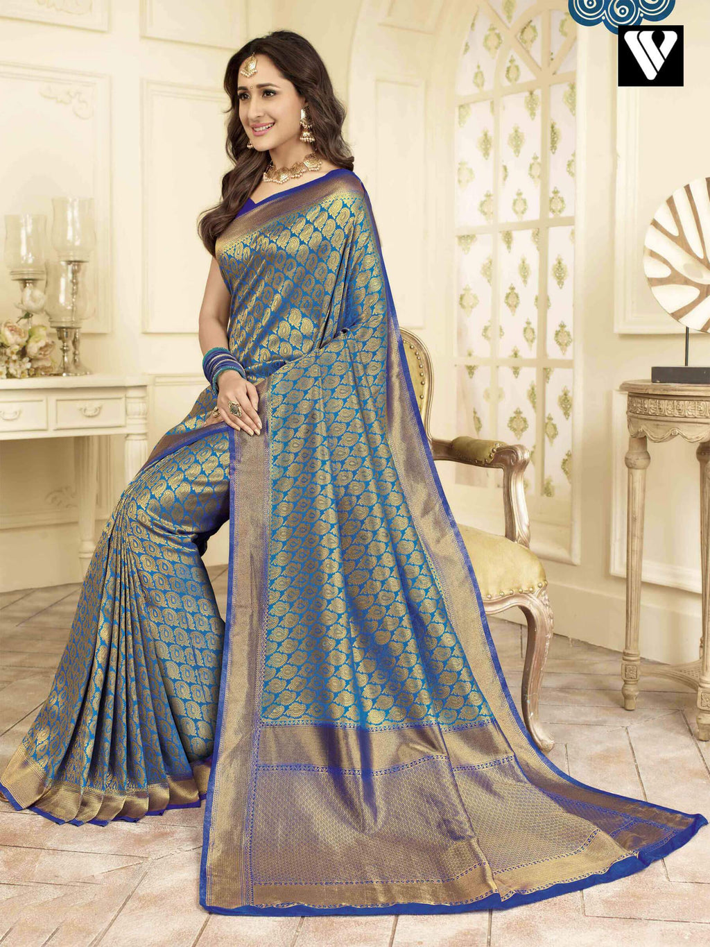 Wedding Wear Style Banarasi Art Silk Sarees In Blue Gold