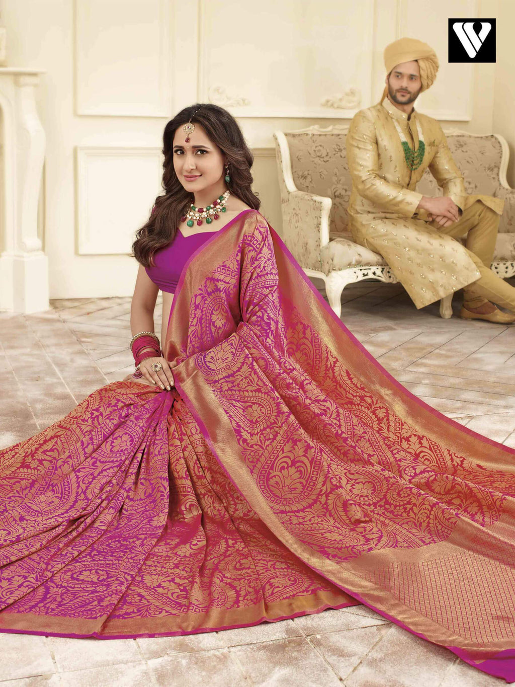 Latest Wedding Wear Banarasi Art Silk Sarees In Pink Gold