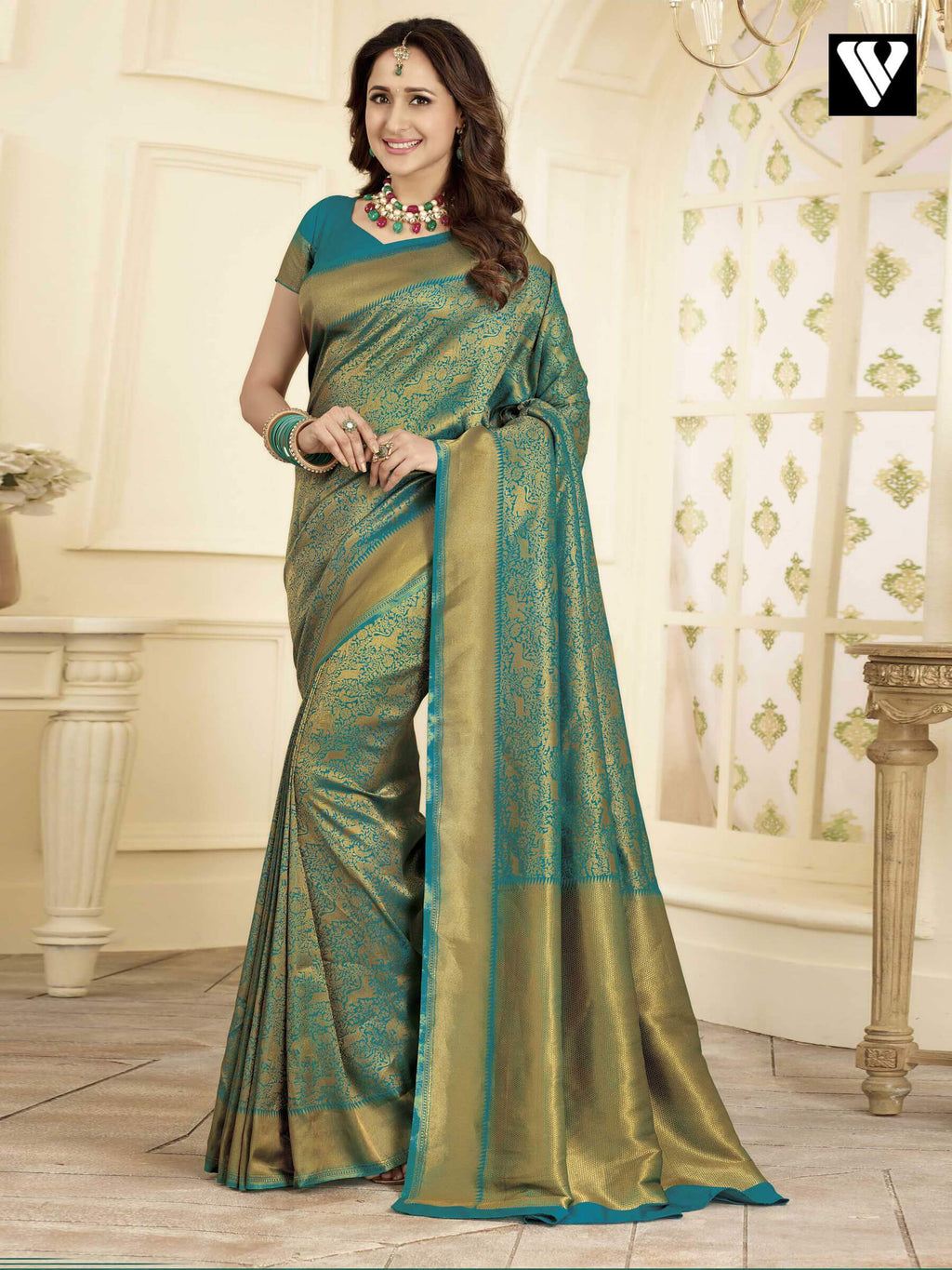 Wedding Wear Banarasi Art Silk Sarees In Green Gold