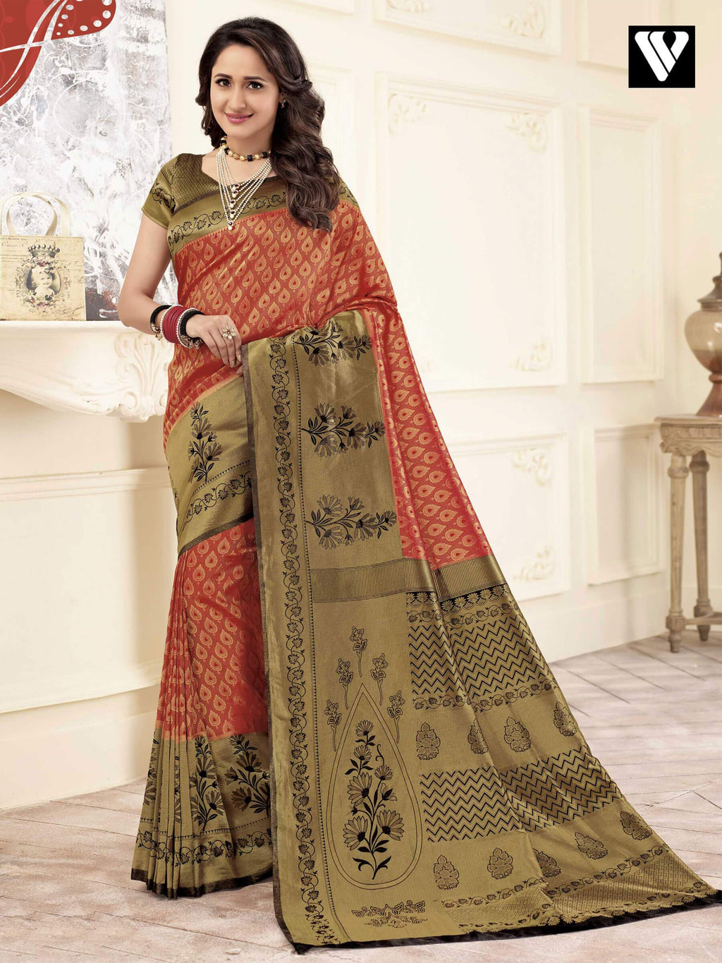 Royal Look Wedding Wear Banarasi Art Silk Sarees In Multi Color