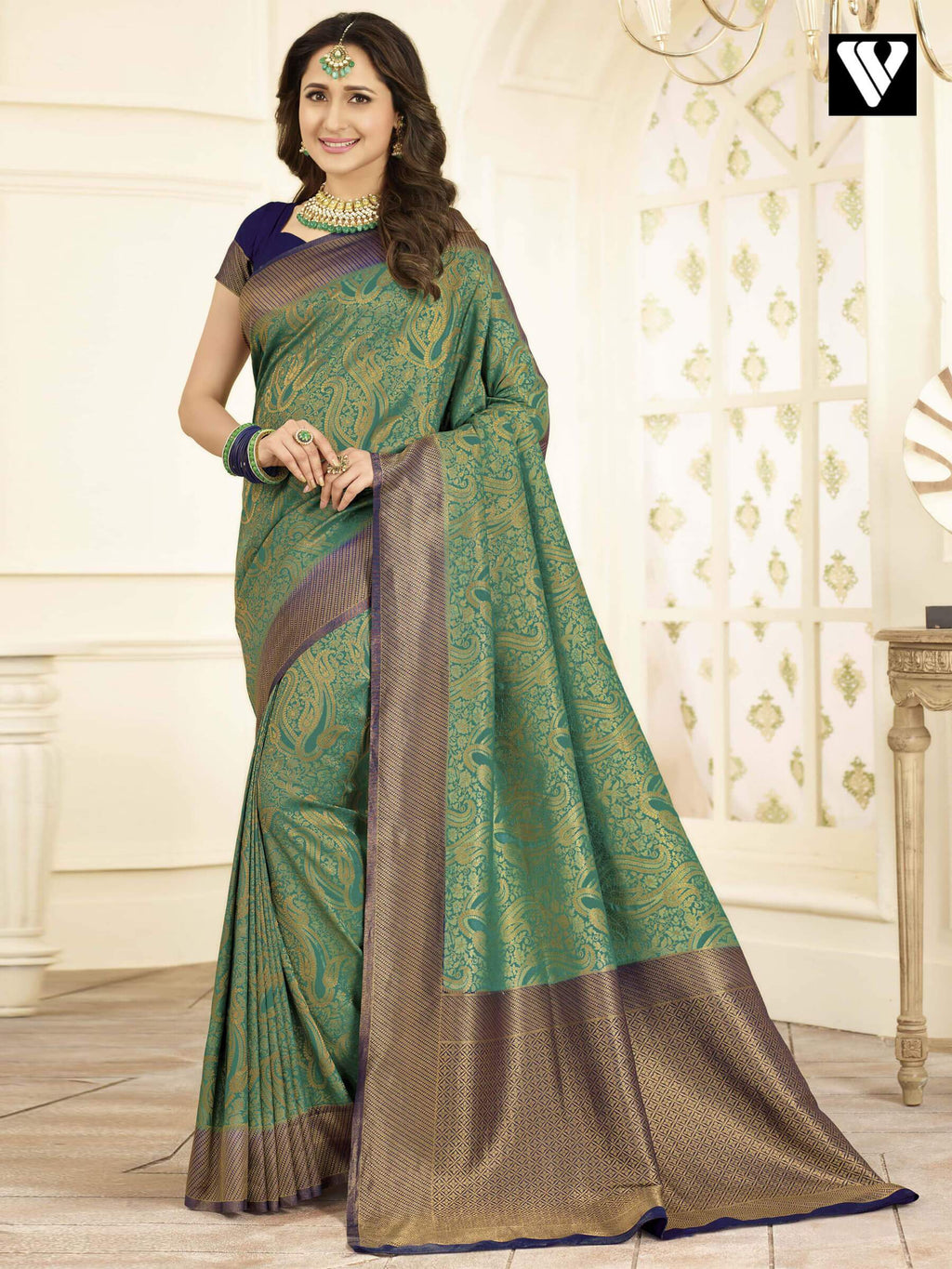 Designer Royal Look Banarasi Art Silk Sarees In Green Gold
