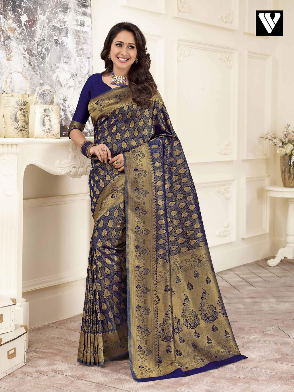 Wedding Wear Banarasi Art Silk Sarees In Blue Gold